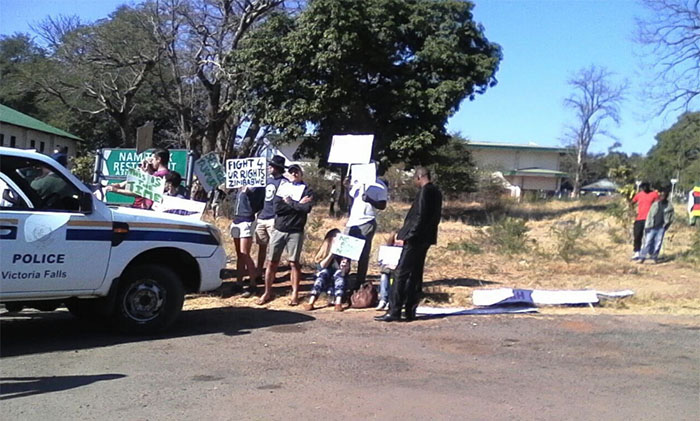 In Victoria Falls these tourists joined the protests in solidarity