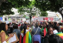 Feelings ran high as Zimbabwean exiles demonstrated outside the Zimbabwe Embassy in London on Wednesday in support of the two-day #ShutdownZimbabwe called by Pastor Evan Mawarire of the #ThisFlag protest movement.