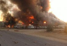 Zimra warehouse set on fire during the disturbances at the Beitbridge Border Post on Friday