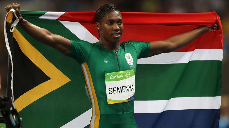 South Africa's Caster Semenya celebrates victory in the women's 800m final