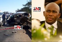 The accident which claimed the life of Valentine Guzuzu (right)
