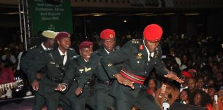 """MAIN ACT . . . Jah Prayzah leads his troops in a dance drill at """"Mdhara Vachauya"""" album launch at the Harare International Conference Centre on Friday night"""