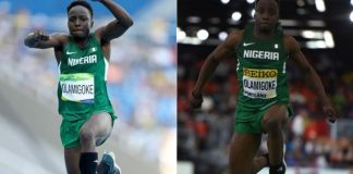 Athletes, including triple jumper Olu Olamigoke, competed in Rio (L) in the same kit as worn at the World Athletics Championships in March (R)