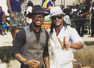 The recently reunited award winning pop duo, Peter and Paul Okoye aka P-Square shared behind the scenes photos for their new video for the single track Bank Alert directed by Clarence Peters.
