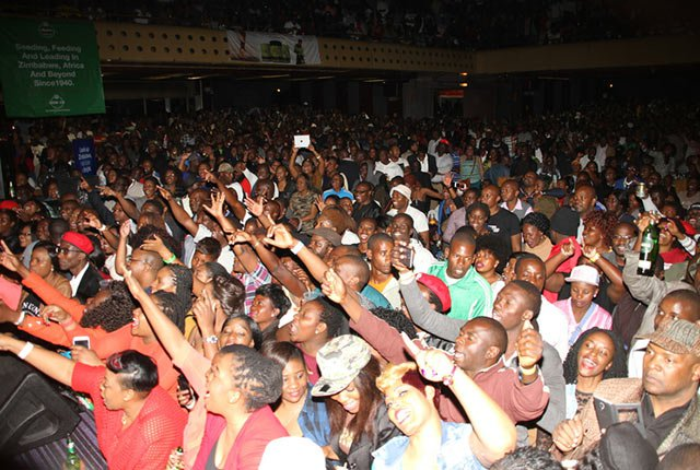 "JAH EUPHORIA . . . Part of the strong crowd that graced Jah Prayzah's ""Mdhara Vachauya"" album launch at the HICC on Friday night"