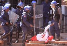 Pictures of police brutalizing Chinyerere have gone viral on social media (Picture by Tafadzwa Ufumeli)