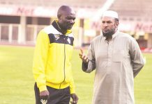 Warriors coach Callisto Pasuwa (left) and team manager Shariff Mussa
