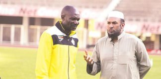 Warriors coach Callisto Pasuwa (left) and team manager Shariff Mussa