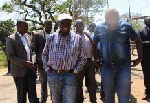 Morgan Tsvangirai seen here with senior party officials after being barred from prison visit