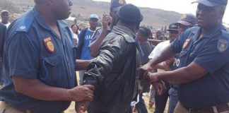 Members of the South African Police Service (SAPS) and the Tshwane metro police rushed to quell tempers at Zimbabwe People First (Zim PF) leader Joice Mujuru's rally in Mamelodi in Pretoria on Saturday as activists invaded the pitch, demanding answers over the emotive Gukurahundi massacres which left around 20 000 people dead in the 1980s.