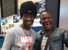 Musician Tocky Vibes seen here with comedian Baba Tencen