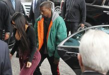Kim and Kanye arrive at their Manhattan apartment after Kim flew home from Paris on Monday. Photograph: Startraks/Rex/Shutterstock