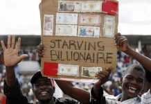 "Zimbabweans protesting the hyper-inflation that turned them into ""starving billionaires"""