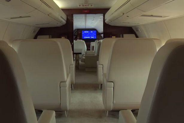 inside donald trumps plane with marble bathroom and