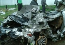 The wreckage of the late Caroline Sithole's car damaged in the flash floods last week