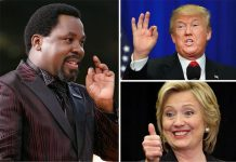 "Nigerian prophet TB Joshua of the Synagogue Church of nations (SCOAN), has predicted that Hillary Clinton will win the US presidential election in a ""narrow victory"" against her Republican rival Donald Trump."