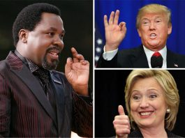 """Nigerian prophet TB Joshua of the Synagogue Church of nations (SCOAN), has predicted that Hillary Clinton will win the US presidential election in a """"narrow victory"""" against her Republican rival Donald Trump."""
