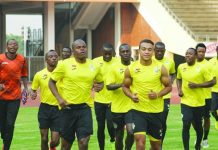 "Zimbabwe national football team ""The Warriors"" during a training session at the National Sports Stadium in Harare"