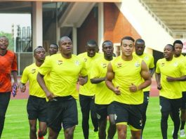 """Zimbabwe national football team """"The Warriors"""" during a training session at the National Sports Stadium in Harare"""