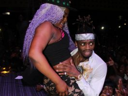Diamond Platnumz on stage with a stripper in Harare last Friday