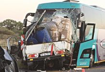 A Johannesburg-bound Intercity cross border coach from Zimbabwe crashes head-on with a truck in Louis Trichardt town in South Africa's Limpopo Province