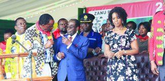 Josiah Hungwe talks to President Mugabe (Picture by Southern Eye)