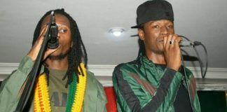 Baba Harare (left) and Jah Prayzah on stage at the album launch