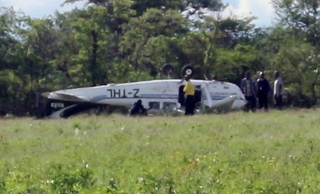 The Cessna aircraft at the crash site in Bubi District yesterday