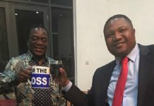 VP Mnangagwa seen here with Energy Mutodi with the coffee mug that torched a political storm