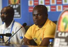 Zimbabwe Warriors captain Willard Katsande (right) and coach Callisto Pasuwa at a press conference