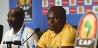 Zimbabwe Warriors captain Willard Katsande (right) and coach Callisto Pasuwa at a press conference