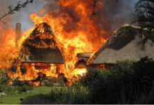 In August 2009, the house was burnt down CREDIT: COURTESY OF BEN FREETH