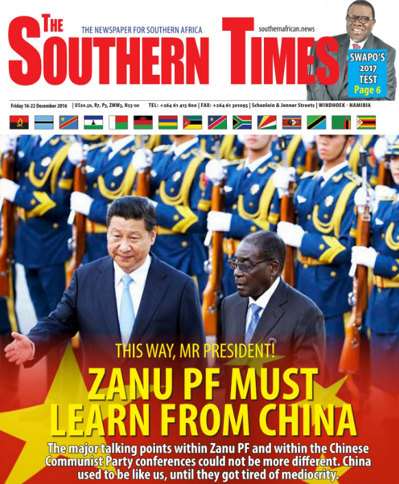 "According to Nehanda Radio sources, Mathuthu is in trouble over a story analysing Zimbabwe's relationship with China. The headline ""This way Mr President.. Zanu PF must learn from China.. "" did not go down well with the ruling Zanu PF party establishment."