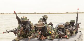 Senegalese special operations forces conduct a beach landing exercise