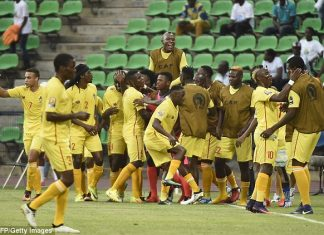 Zimbabwe's players were in high spirits after the underdogs took the lead in Franceville