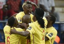Zimbabwe celebrate after scoring but could not hold on for victory