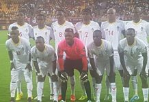 >RUMBLE IN THE JUNGLE . . . Warriors starting XI pose for a group photo ahead of their friendly international against Cameroon in Yaounde last night