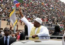 The Gambia has formally sworn in its new elected President, Adama Barrow, in front of a crowd of thousands including African heads of state.