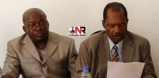 Kudakwashe Bhasikiti and Rugare Gumbo seen here at a ZimPF press conference in Harare