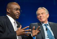 Strive Masiyiwa seen here with former British Prime Minister Tony Blair