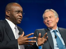 Strive Masiyiwa seen here with former British Prime Minister Tony Blair