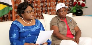 ZimPF leader Dr Joice Mujuru announces the expulsion of her party senior members at a press conference in Highlands – (Picture by Believe Nyakudjara