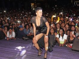 Dancer Beverly Sibanda on stage