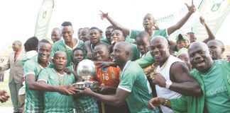 Caps United celebrate after winning the ZNA Commander's Charities Shield