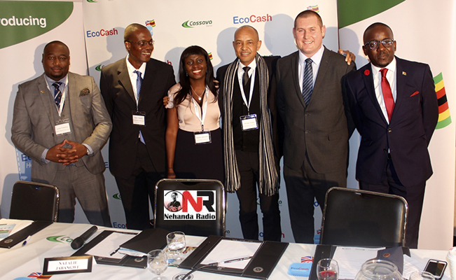 The team launching the new product. From left to right Louis Charema (CMG), Owen Takadiyi (GM Marketing - EcoCash Zimbabwe) Natalie Jabangwe-Morris (EcoCach CEO), George Chirwa (Econet Group Executive), Haxton Rose (Cassava Remit), Conrad Mwanza (CMG Group)
