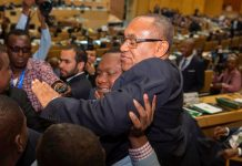 Ahmad Ahmad of Madagascar is given a lift after being elected the president of the Confederation of African Football in Addis Ababa on Thursday. Photograph: Zacharias Abubker/AFP/Getty Images