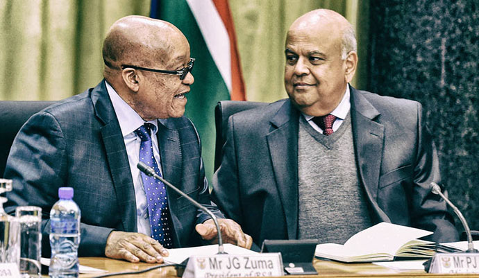 Photo: President Jacob Zuma and Minister of Finance Pravin Gordhan during a meeting with business and labour leaders at the Union Buildings in Pretoria. South Africa. 09/05/2016. Siyabulela Duda / GCIS