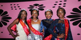 Miss Deaf 2017 winner Chiedza Hukuimwe in silver dress, flanked by her princesses Ruth Mukome, Natasha Sibanda and Thandynkosi Sibanda — (Picture by ZIMBUZZ)