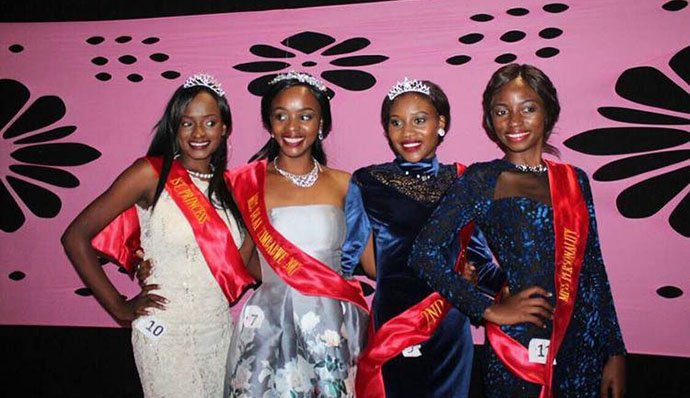 Miss Deaf 2017 winner Chiedza Hukuimwe in silver dress, flanked by her princesses Ruth Mukome, Natasha Sibanda and Thandynkosi Sibanda — (Picture by ZIMBUZZ)