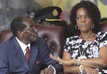 Robert Mugabe with his wife Grace at his 92nd birthday celebrations last year. Photograph: Tsvangirayi Mukwazhi/AP
